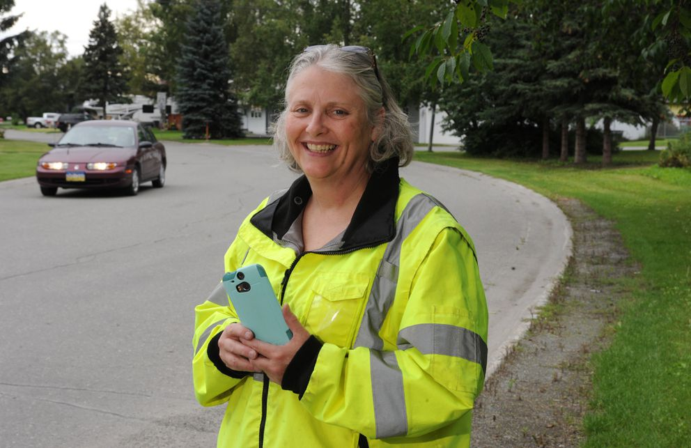 Liz Patrick serves with the College Gate Community Patrol in Anchorage on Wednesday, Aug. 17, 2016. (Bill Roth / Alaska Dispatch News)