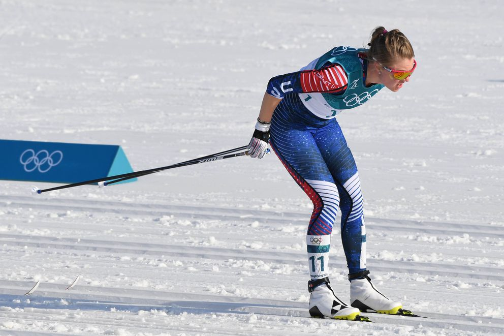 Anchorage's Sadie Bjornsen on her way to 17th place in the 30K classic. (Kyle Terada-USA TODAY Sports)