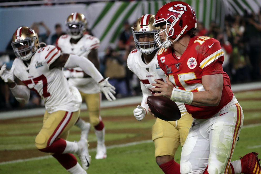 Kansas City Chiefs quarterback Patrick Mahomes runs against the San Francisco 49ers during the second half of the NFL Super Bowl 54 football game Sunday, Feb. 2, 2020, in Miami Gardens, Fla. (AP Photo/Matt York)
