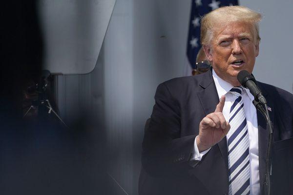 Former President Donald Trump speaks at Trump National Golf Club in Bedminster, N.J., Wednesday, July 7, 2021. (AP Photo/Seth Wenig)