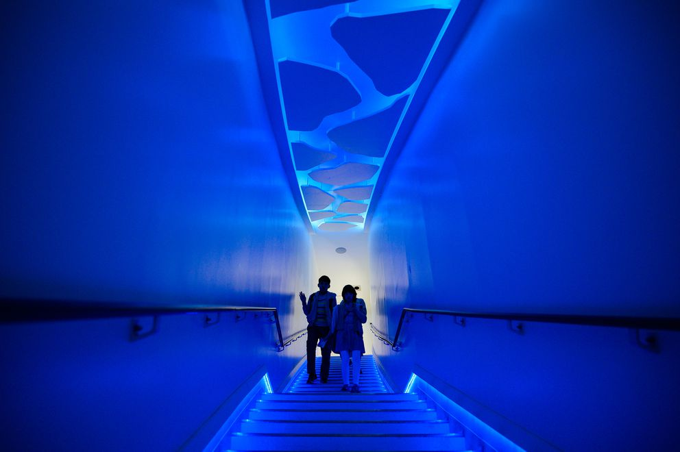 Tourist make their way through an ice exhibit at the Okhotsk Ryūhyō Museum in Hokkaido, Japan. (Photo for The Washington Post by Salwan Georges)