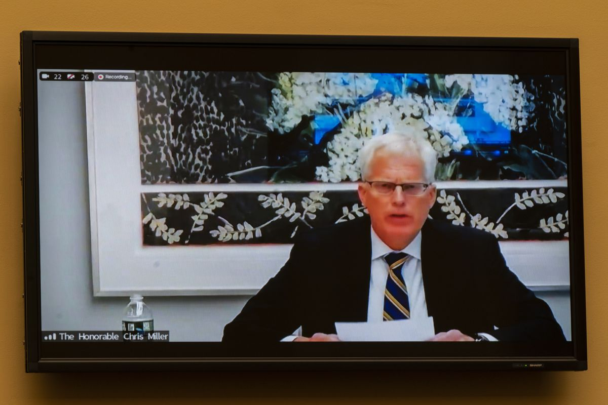 Christopher Miller, former acting secretary of the Department of Defense is seen on a video monitor as he testifies virtually during a House Committee on Oversight and Reform hearing on the Capitol breach on Capitol Hill, Wednesday, May 12, 2021, Washington. (AP Photo/Manuel Balce Ceneta)