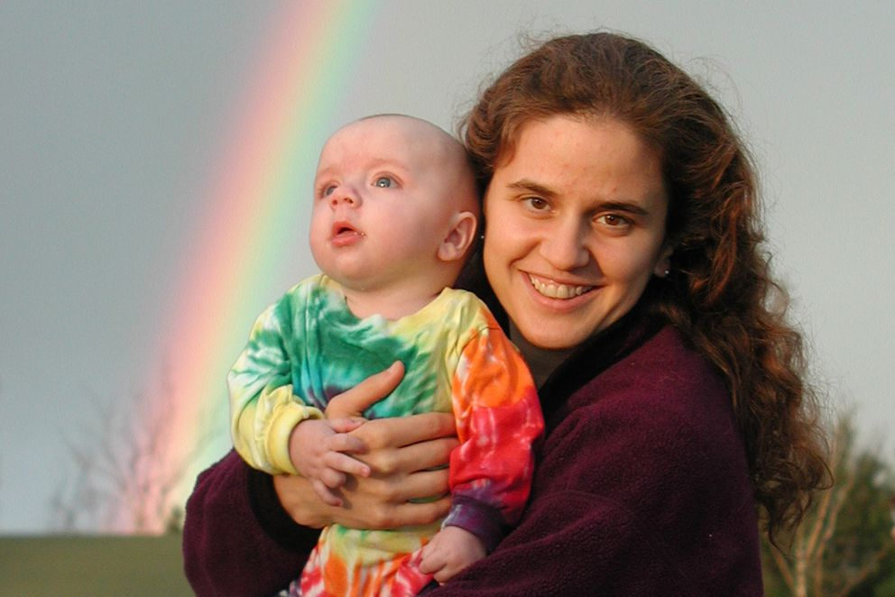 Katrina Garner holds baby Jack, whose outfit matches the rainbow, in July of 2001. (Courtesy Katrina Garner)