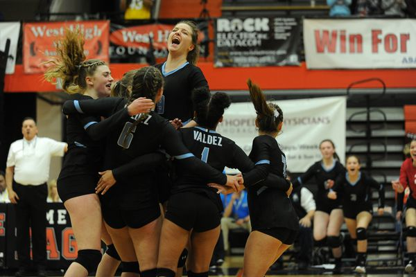 Valdez celebrates it victory in straight sets over Barrow to win the 3A State Volleyball Championship at West High in Anchorage, Alaska on Saturday, Nov.1, 2017. (Bob Hallinen / Alaska Dispatch News)