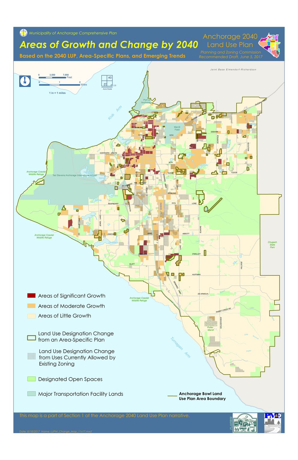This map shows the expected areas of growth in Anchorage over the next two decades. (Municipality of Anchorage)