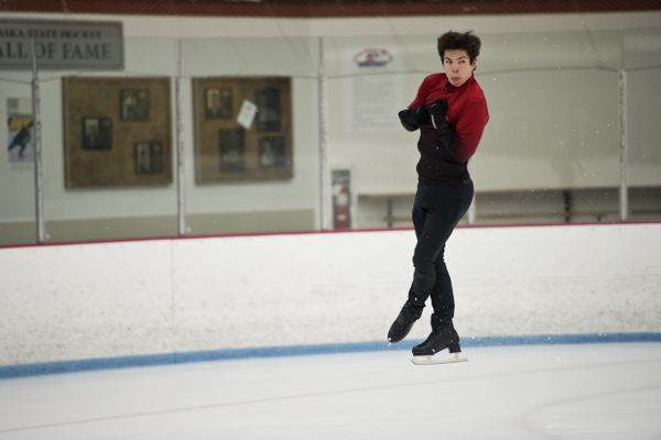 Figure skater Keegan Messing practices his short program at O'Malley Sports Center in South Anchorage on October 30, 2019. (Marc Lester / ADN)
