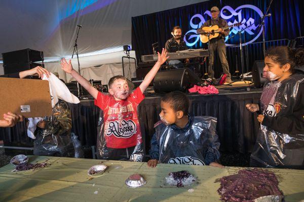 Michael Davidson, 10, reacts after winning a blueberry pie eating contest Saturday at Alyeska Resort. (Loren Holmes / ADN)