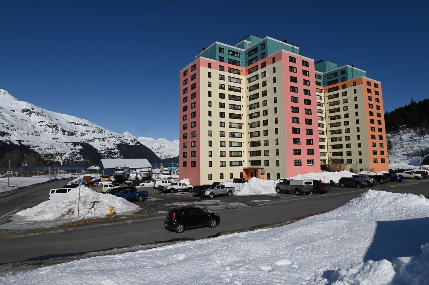 The 14-story Begich Towers in Whittier on a sunny Monday. (Bill Roth / ADN)