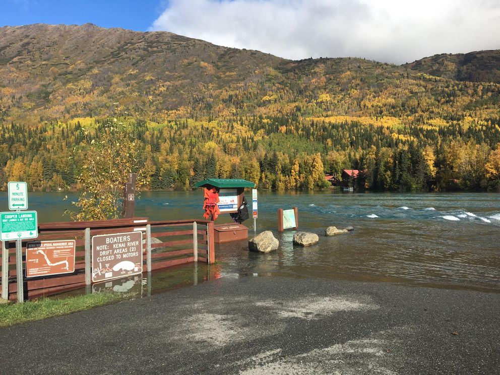 The boat landing at Cooper Landing was flooded this past week after the glacial dam on the Snow River burst around Sept 19, 2017. (Photo provided by NWS)