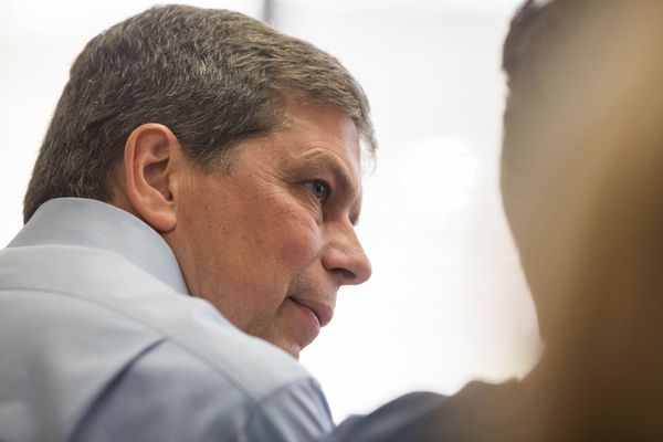 Mark Begich files to run for governor Friday, June 1, 2018 at the state division of elections office in midtown. (Loren Holmes / ADN)
