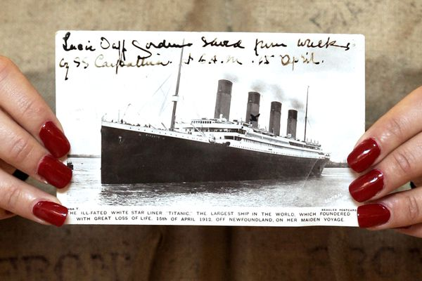 A postcard of the Titanic displayed at Christie's in London in 2007. Bloomberg photo by Michael Crabtree.
