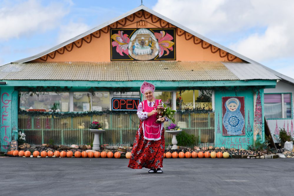 Nina Fefelov operates Samovar Cafe in the Russian Old Believer village of Nikolaevsk, and enjoys sharing Russian culture and customs with visitors. Photographed on June 20, 2018.(Marc Lester / ADN)