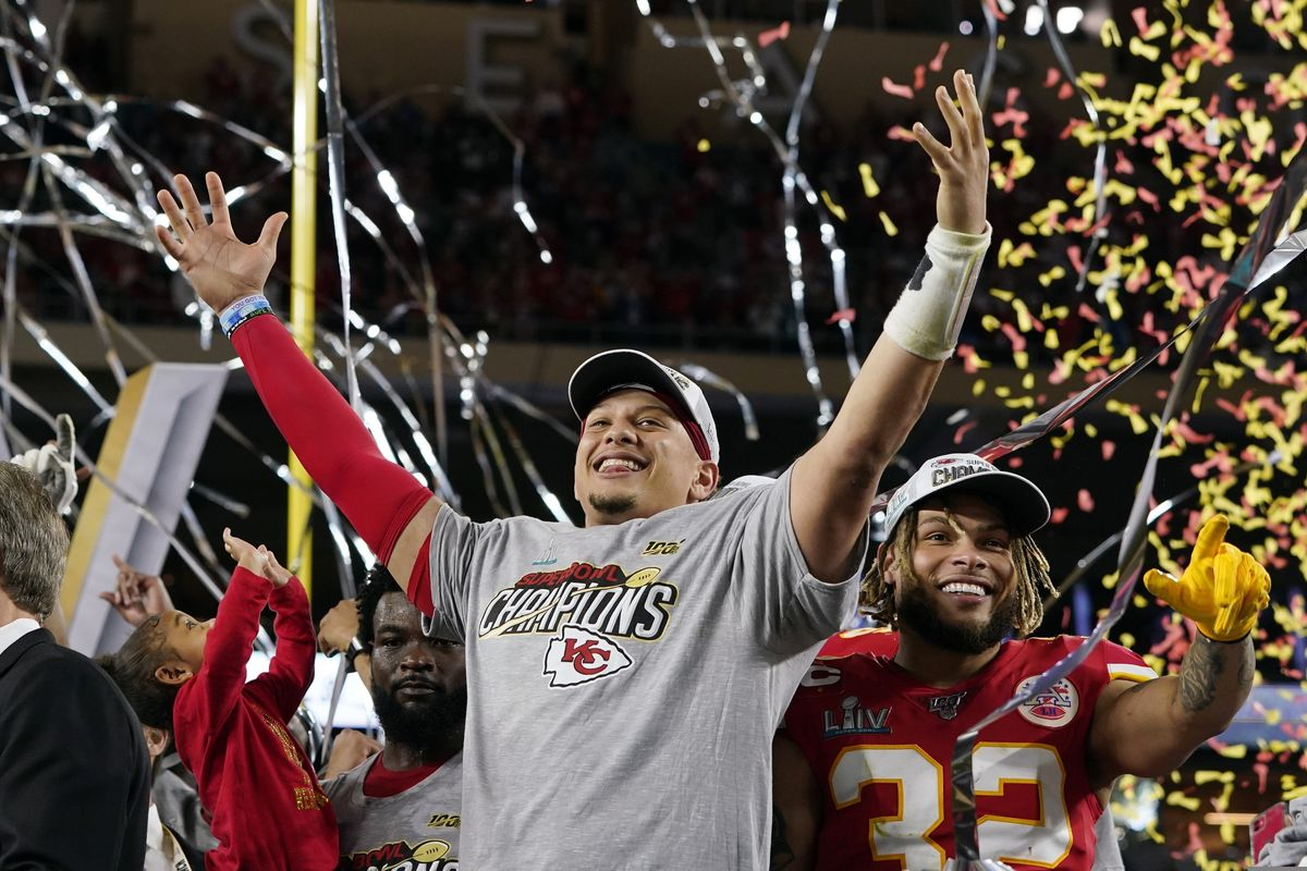 Kansas City Chiefs' Patrick Mahomes, left, and Tyrann Mathieu celebrate after defeating the San Francisco 49ers in the NFL Super Bowl 54 football game Sunday, Feb. 2, 2020, in Miami Gardens, Fla. (AP Photo/David J. Phillip)