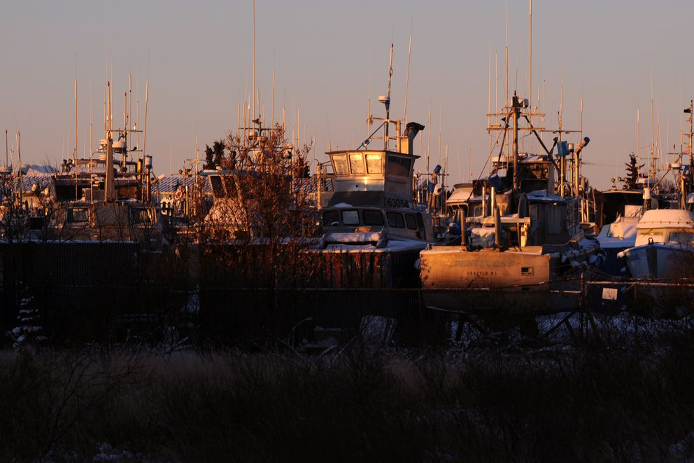 Fishing boats stored on land for the winter catch some morning sunshine on Tuesday, Nov. 29, 2016, in Dillingham. (Erik Hill / ADN)