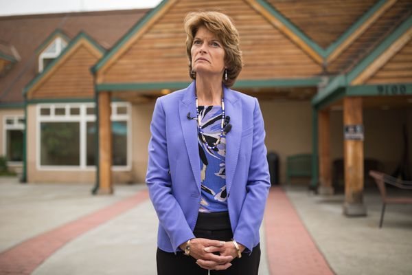 Senator Lisa Murkowski pauses while speaking with reporters after touring Prestige Care and Rehabilitation Center of Anchorage on Wednesday, August 9, 2017. (Loren Holmes / Alaska Dispatch News)
