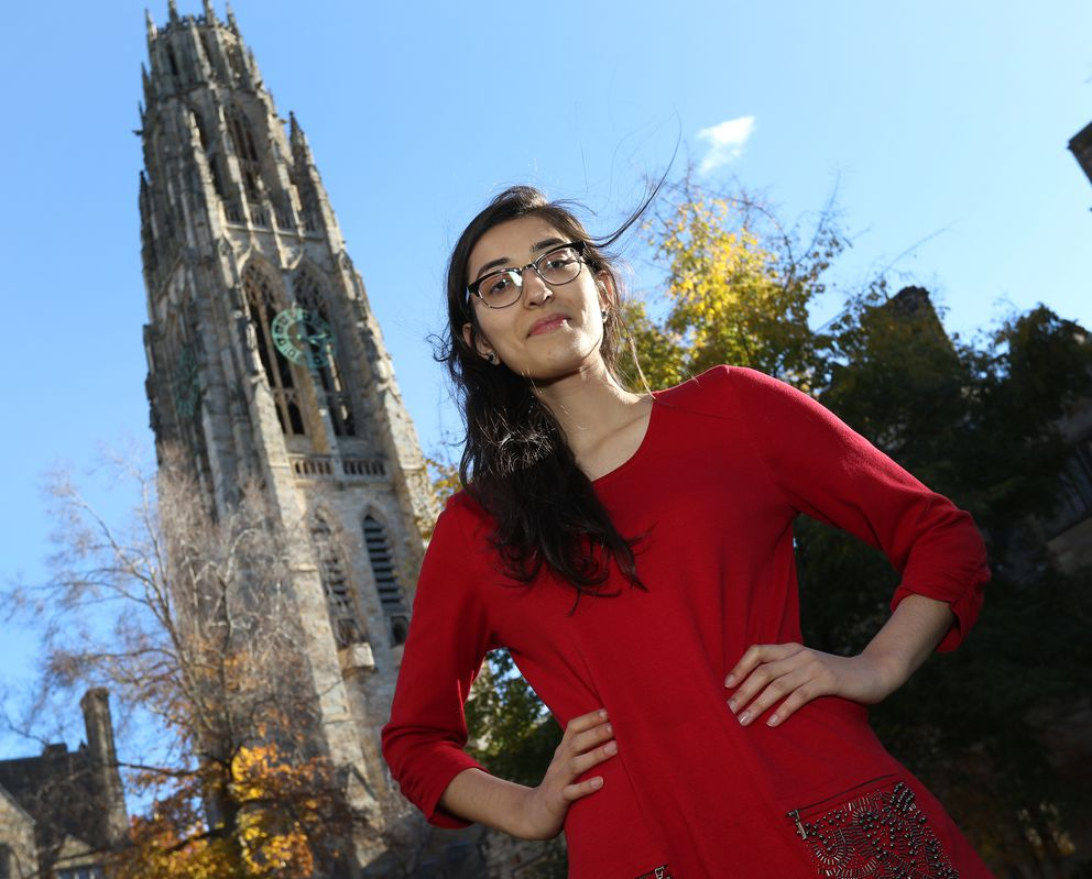 Zunaira Arshad, a senior from Hawthorne Woods, Ill., is pursuing a double major in global affairs and molecular, cellular, and developmental biology at Yale University. She says contact with international peers is invaluable. (Photo for The Washington Post by Stan Godlewski)