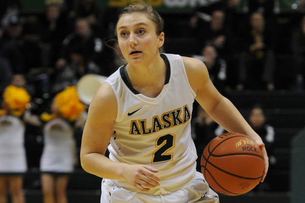 UAA freshman guard Nicole Pinckney of Chugiak looks for an opening in the Maryland Eastern Shore defense during the Seawolves' 69-59 victory over the Hawks on during opening day of the GCI Great Alaska Shootout in the Alaska Airlines Center at UAA on Tuesday, Nov. 21, 2017. (Bill Roth / ADN)