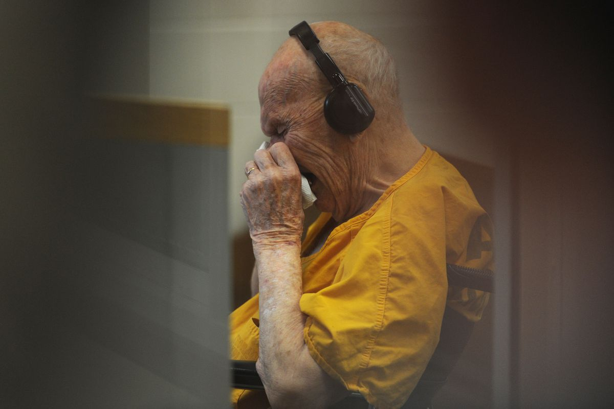 Duane Marvin, a 91-year-old World War II veteran who suffers from dementia, was arraigned in the Anchorage Correctional Complex court on Wednesday, May 17, 2017, after being charged with first- and second-degree murder and tampering with evidence in the shooting death of his wife Charlotte Marvin, 92, on Sunday. Marvin admitted to police he shot and killed his wife but didn't know why. (Bill Roth / Alaska Dispatch News)