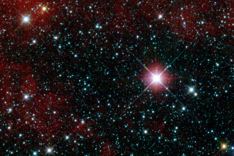 This infrared snapshot of a region in the constellation Carina near the Milky Way was taken shortly after NASA's Wide-field Infrared Survey Explorer (WISE) ejected its cover. The