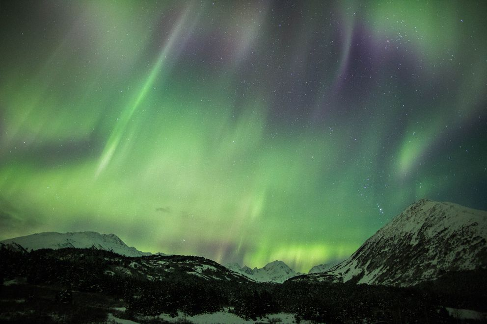The northern lights dance above Turnagain Pass on Nov. 4, 2015. (Loren Holmes / Alaska Dispatch News)