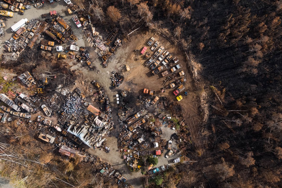 Homes are destroyed in a neighborhood near mile 91 of the Parks Highway on Wednesday, Sept. 4, 2019. 52 primary residences, three commercial structures and 84 outbuildings were destroyed in the McKinley fire on the night of Aug. 18, according fire officials. (Loren Holmes / ADN)