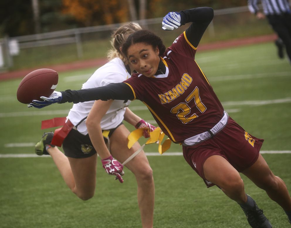 Dimond's Skyler Coleman is the CIC offensive player of the year in flag football. (Emily Mesner / ADN)
