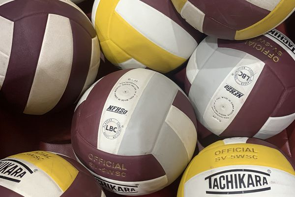 Volleyballs at the Dimond/Service Volleyball Tournament on Friday, Oct. 25, 2019. (Matt Tunseth / Chugiak-Eagle River Star)