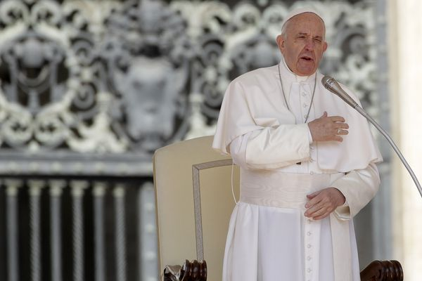 Pope Francis does the sign of the cross during his weekly general audience, in St. Peter's Square, at the Vatican, Wednesday, May 8, 2019. (AP Photo/Alessandra Tarantino)