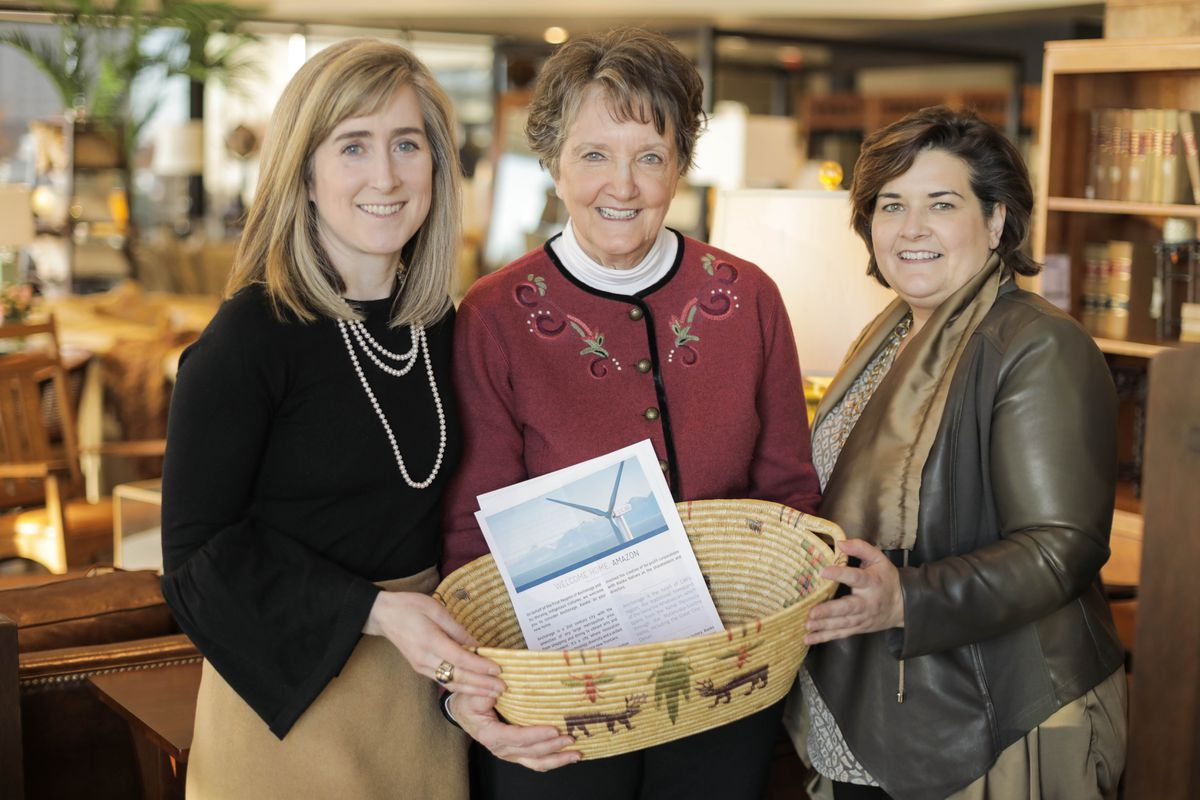 From left, Anchorage businesswomen Meghan Stapleton, Elaine Baker, and Carmen Baker are putting together a proposal to entice Amazon to locate their second headquarters in Anchorage. Photographed Wednesday at Elaine S. Baker & Associates furniture store. (Loren Holmes / Alaska Dispatch News)