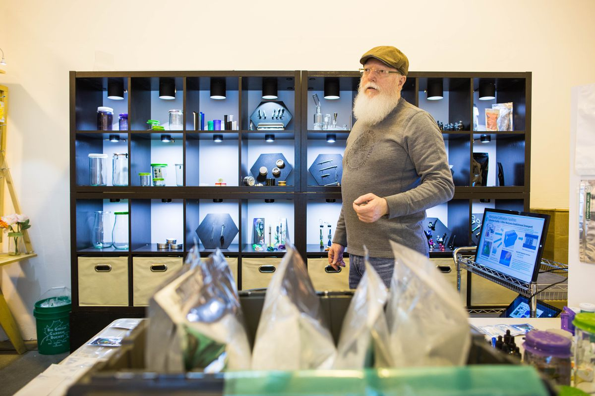 JKD Brands owner Jim Dyer in his Anchorage warehouse on Thursday, Apr. 21, 2016. Dyer is developing packaging for the nascent legal marijuana business.