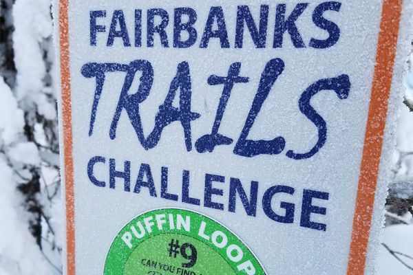 Each challenge trail is marked by a sign with instructions for participating users, who are encouraged to snap a selfie and post on social media. (Erin Kirkland)