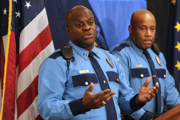 Alaska State Troopers Capt. Tony April and Lt. Christopher Thompson give an update regarding the ongoing missing person investigation of Keith Aumavae during a press conference in Anchorage on Tuesday, Nov. 7, 2017. (Bill Roth / Alaska Dispatch News)