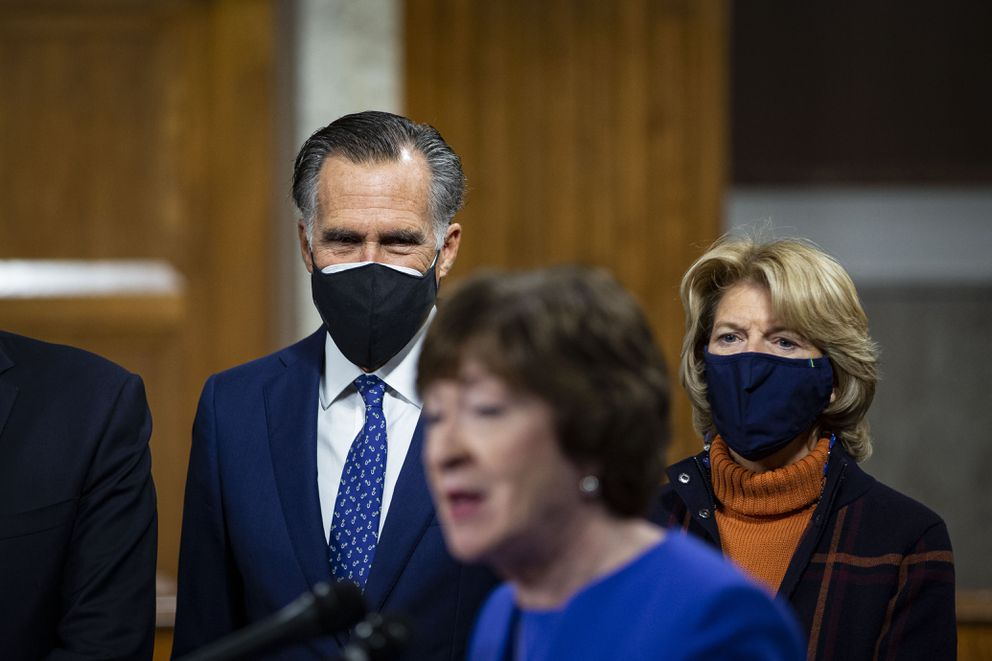 Sens. Mitt Romney, R-Utah, and Lisa Murkowski, R-Alaska, listen as Sen. Susan Collins, R-Maine, speaks at a news conference on Capitol Hill on Dec. 14. They were among the seven Republican senators who voted Saturday to convict Donald Trump on a charge of 'incitement of insurrection. ' (Photo for The Washington Post by Al Drago)