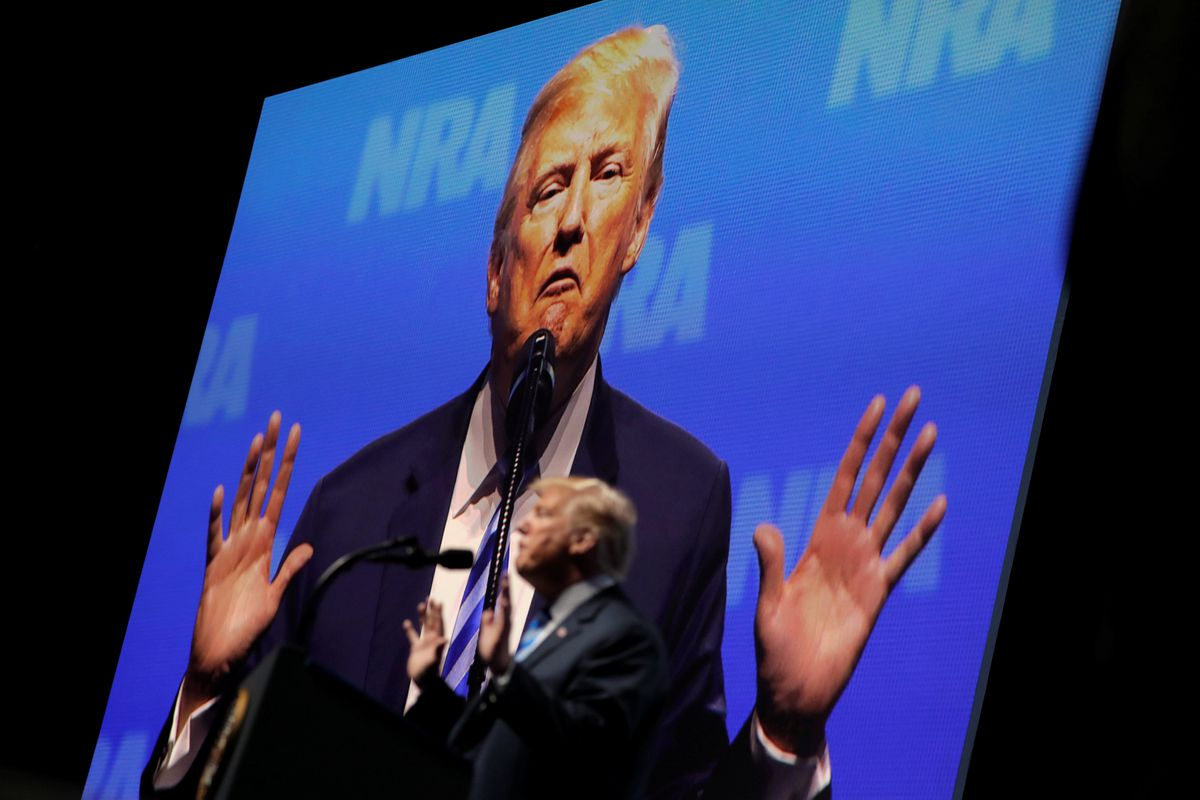 U.S. President Donald Trump delivers remarks at the National Rifle Association (NRA) Convention in Dallas, Texas, U.S., May 4, 2018. REUTERS/Carlos Barria