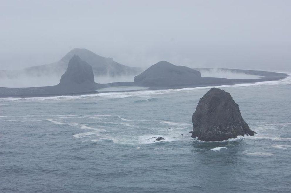 Bogoslof Island from the northwest on May 8 (Alaska Volcano Observatory)