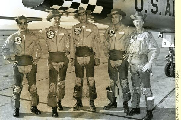 Capt. Charles W. Maultsby, far left, was a member of the Air Force's top tactical fighter team for supersonic weapons in an October 1958 competition at Nevada's Nellis Air Force Base. Maultsby and other top pilots competed in air to air combat and ground bombing in the use of nuclear weapons. Four years later, Maultsby piloted a U-2 spy plane from Alaska's Eielson Air Force Base to the North Pole and mistakenly drifted into Soviet air space at the height of the Cuban Missile Crisis. The incident captured the attention of President John Kennedy and Soviet leader Nikita Khrushchev. Maultsby died of cancer in 1998. (Photo courtesy of National Archives)
