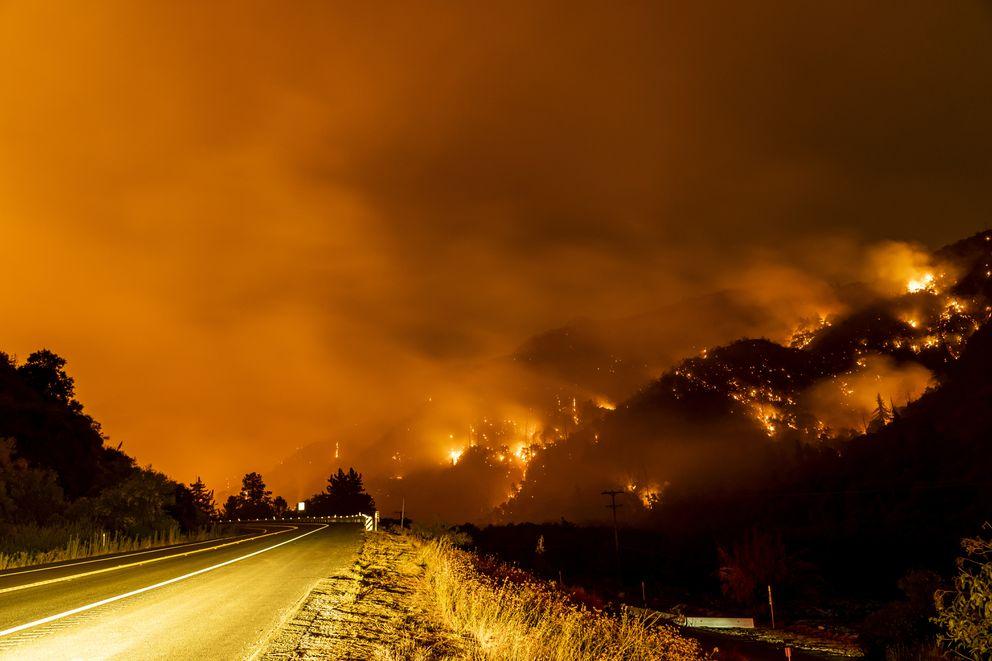 The El Dorado Fire burns a hillside in the San Bernardino National Forest near Yucaipa, Calif., on Wednesday. Photo by Kyle Grillot for The Washington Post