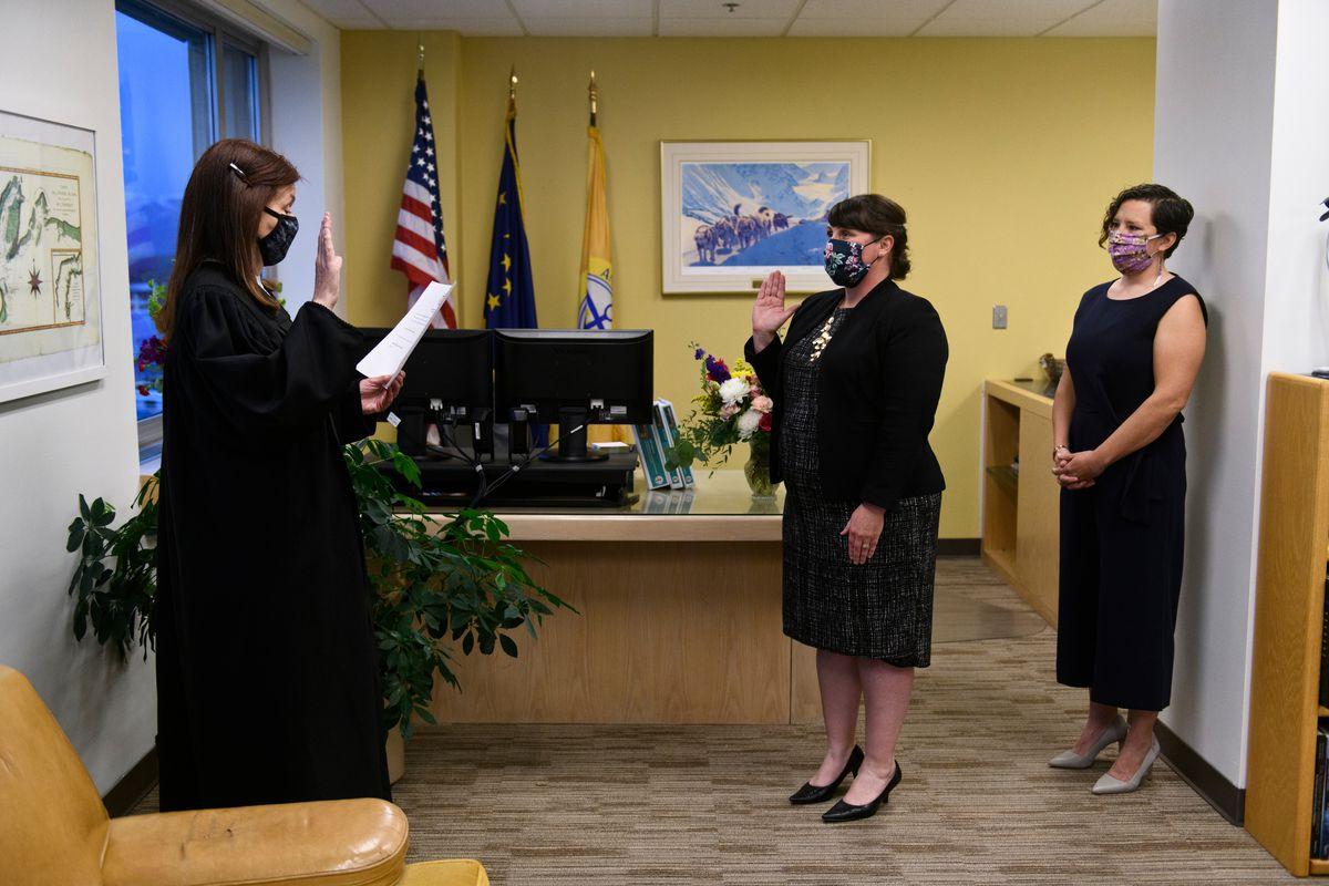 Austin Quinn-Davidson is sworn in as acting mayor at City Hall on October 23, 2020. (Marc Lester / ADN)