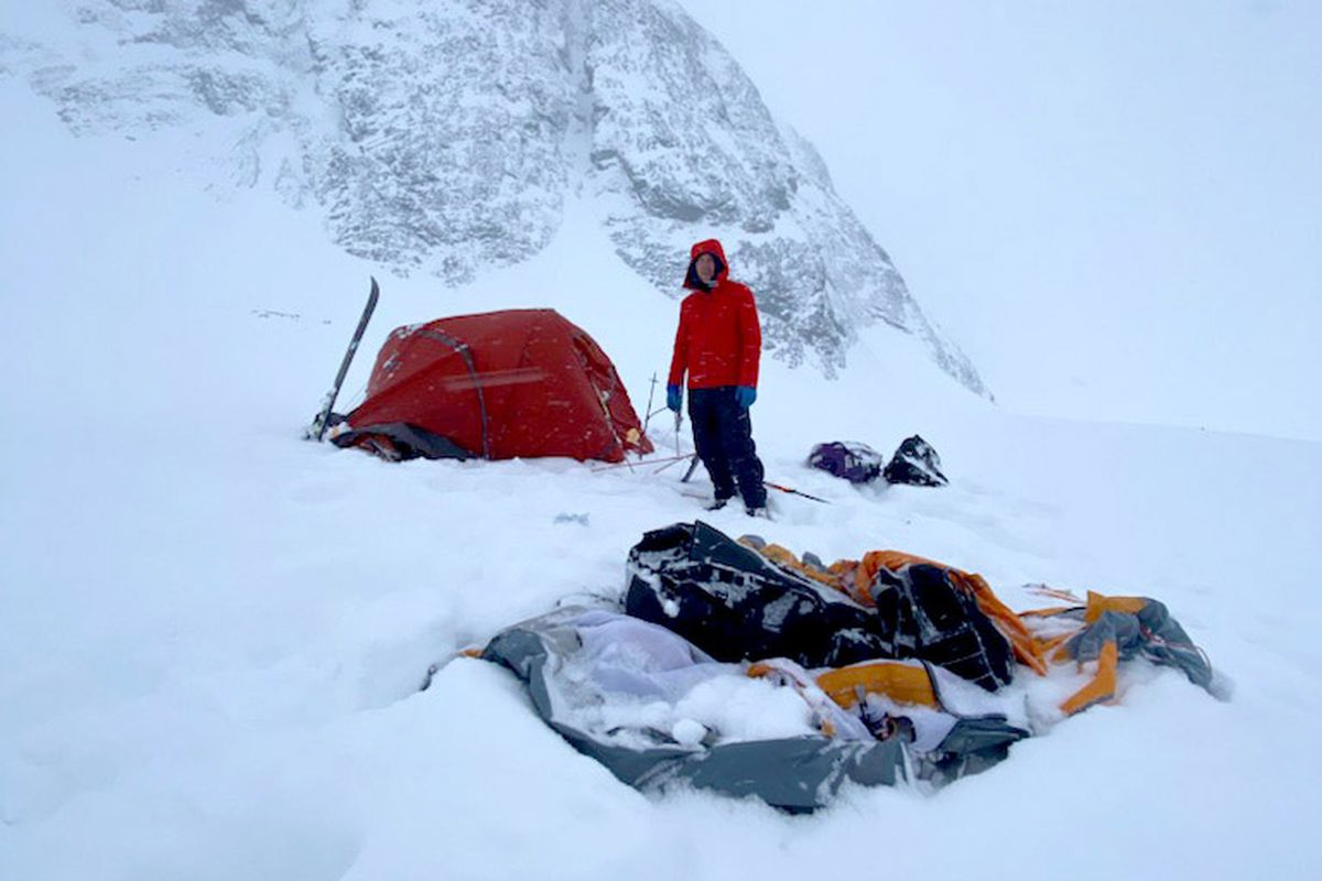 An air blast from an avalanche on Mount Neacola launched three climbers and their gear hundreds of feet on April 4, 2021. (Photo by Justin Guarino)