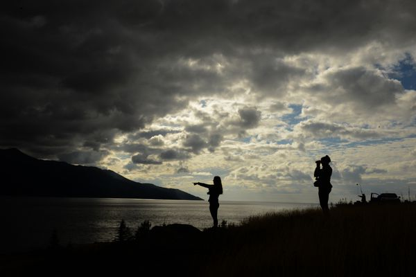 Cassie Nolan, from Australia, and her cousin Kate Baylan, from Ireland, watch beluga whales in Turnagain Arm along the Seward Highway south of Anchorage, AK on Friday, August 24, 2018. (Bob Hallinen / ADN)