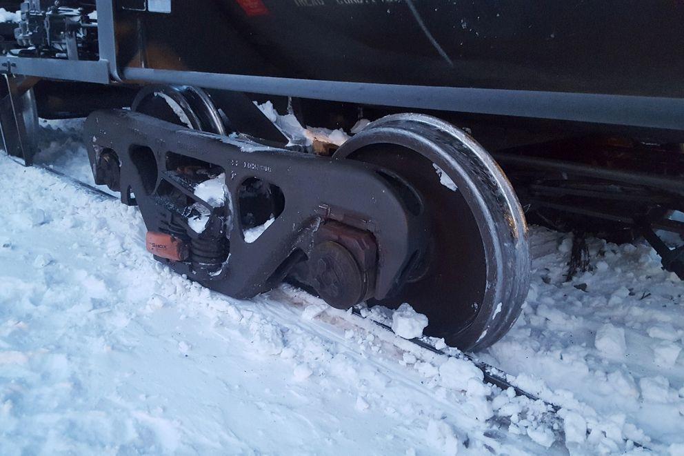 A single Alaska Railroad railcar rolled off tracks near Cantwell, Tuesday, Jan. 15, 2019. (Photo provided by Alaska Railroad Corp.)