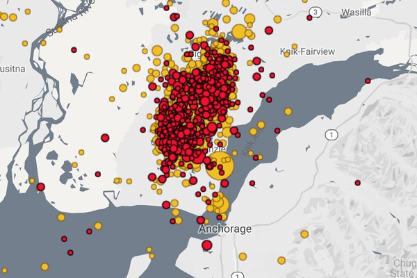 Earthquakes associated with Friday's 7.0 earthquake north of Anchorage as of 5:45 p.m. Sunday. The red dots represent shakes in the previous 24 hours, and the yellow dots are from the past week (with virtually all of them since Friday. The large dot directly north of the city was Friday's quake) Map from Alaska Earthquake Center.