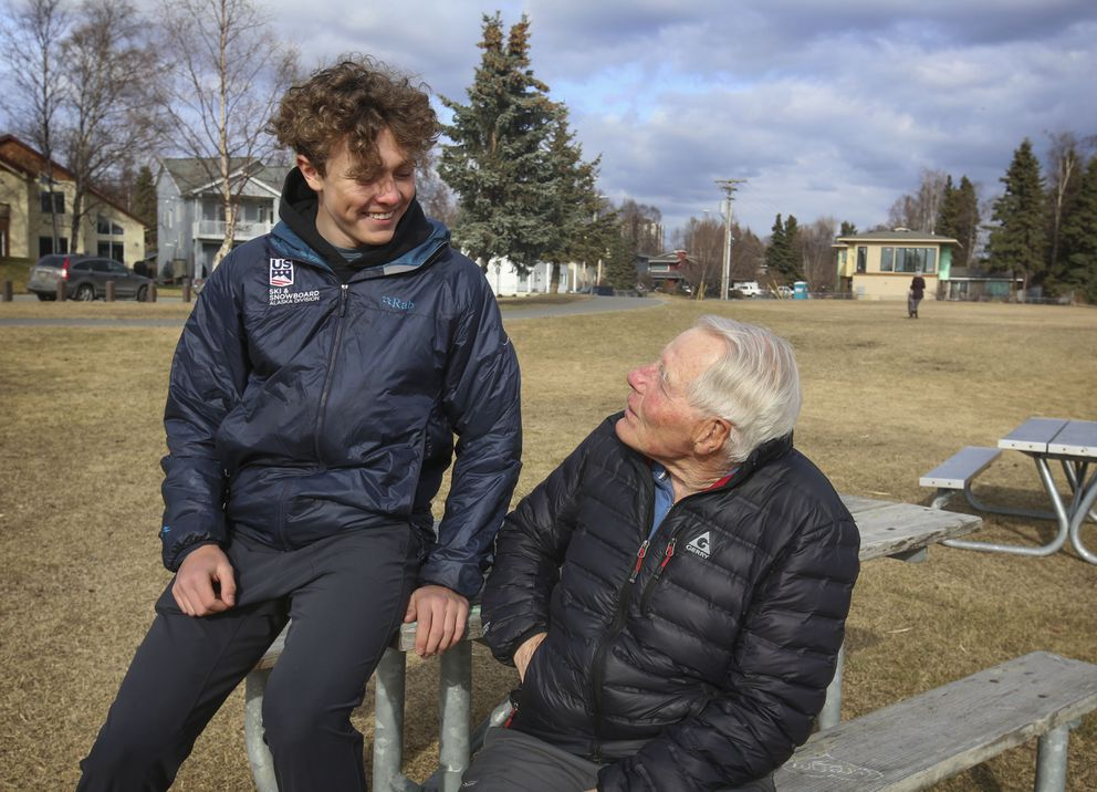 Finnigan Donley shares a laugh with grandfather Eberhard Brunner, the first alpine coach at Alyeska Resort. (Emily Mesner / ADN)