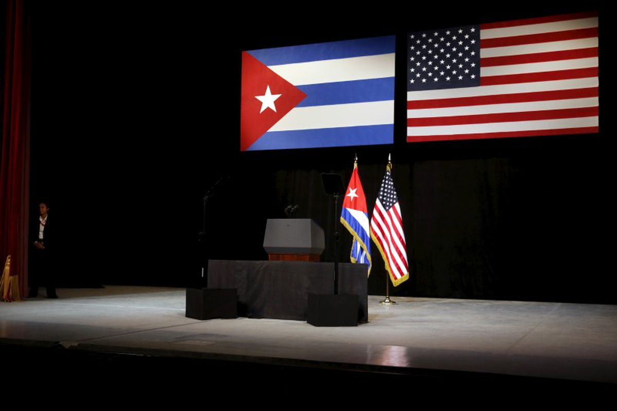 The stage is set with Cuban and U.S. flags before U.S. President Barack Obama addresses the Cuban people from the stage at the Gran Teatro de la Habana Alicia Alonso in Havana March 22, 2016. (Jonathan Ernst / Reuters)