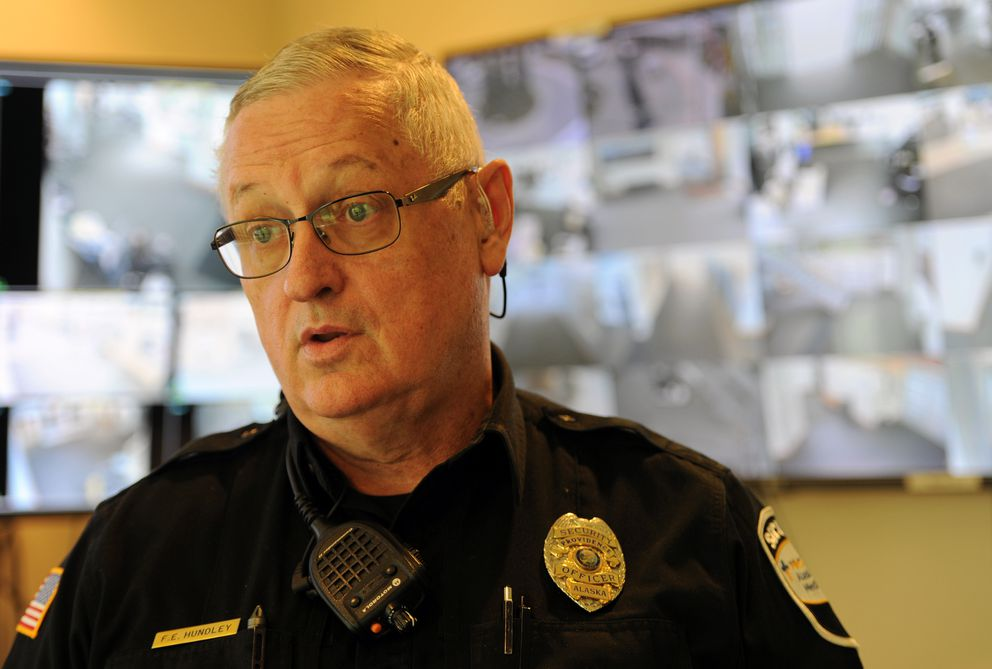 Security officer Frank Hundley talks about the February 2017 vehicle theft at Providence Alaska Medical Center. (Bill Roth / ADN)