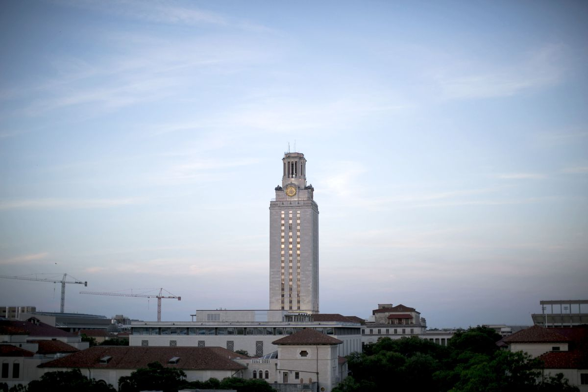 The University of Texas at Austin clocktower, where a mass shooting took place in 1966, is shown on July 5, 2016. (Photo for The Washington Post by Ilana Panich-Linsman)