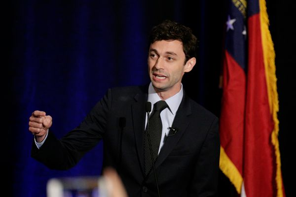 Georgia's Sixth District Congressional candidate Jon Ossoff speaks to his supports at his Election Night party in Sandy Springs, Georgia, U.S., April 18, 2017. REUTERS/Marvin Gentry