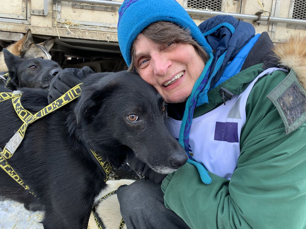 Cindy Gallea and Finn at the ceremonial start of the 2019 Iditarod, March 2, 2019. (Tegan Hanlon / ADN)