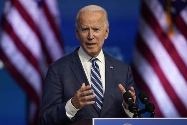 President-elect Joe Biden speaks Tuesday, Nov. 10, 2020, at The Queen theater in Wilmington, Del. (AP Photo/Carolyn Kaster)