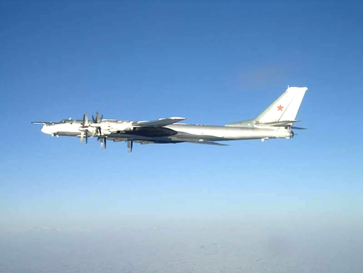One of two Russian Tu-95 Bear long-range bomber aircraft which neared the U.S. Navy aircraft carrier USS Nimitz on Feb. 9, 2008, south of Japan. (U.S. Navy)
